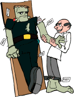 Illustration: Dr Frankenstein et son robot