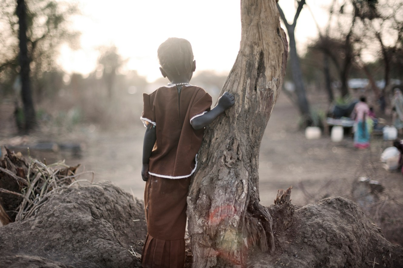 A young girl looks over Doro refugee camp where around 60% of the camp's population are children.