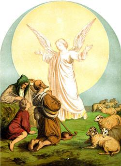 Angel bringing message to shepherds.