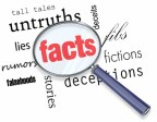 A magnifying glass hovering over several words like deceptions and lies, at the center of which is Facts