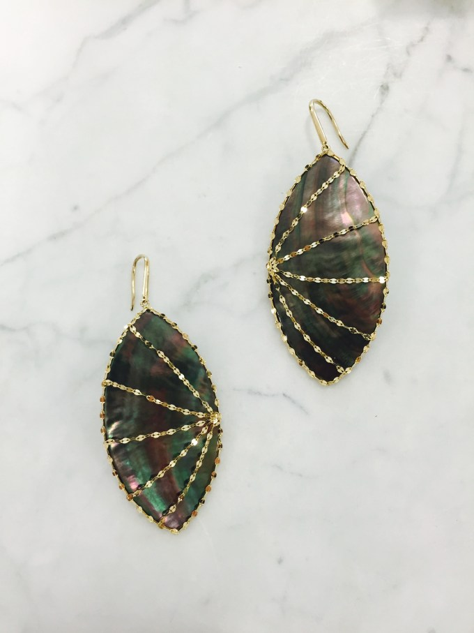 earrings, black mother of pearl