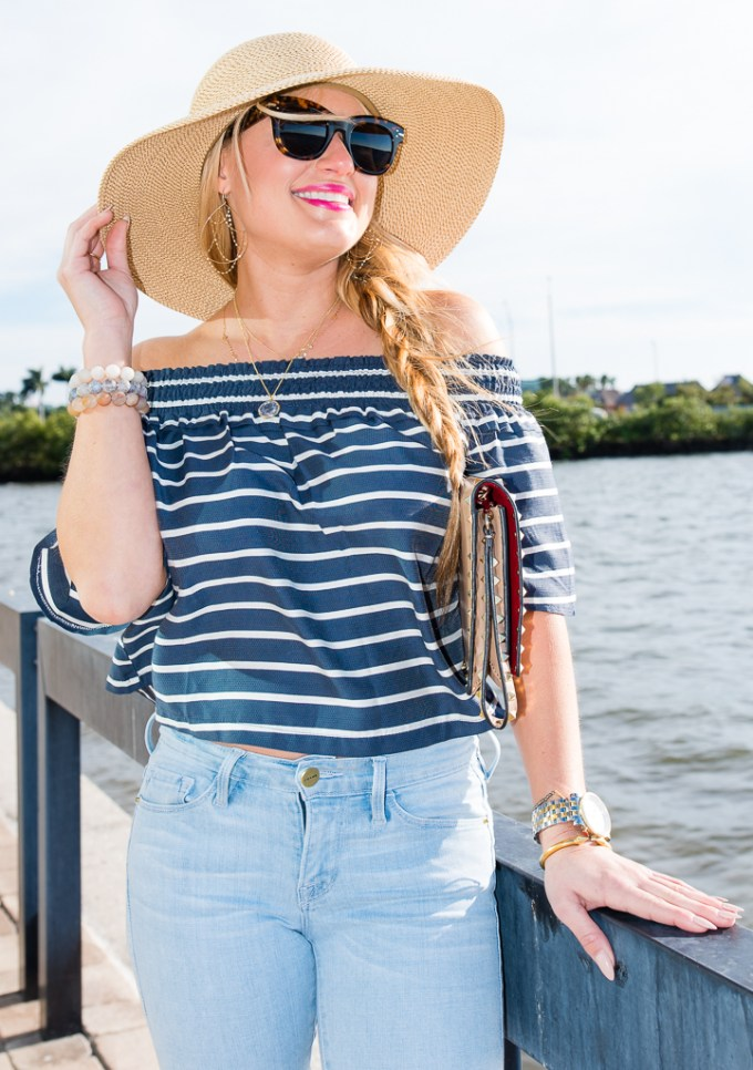 off the shoulder top, light denim, floppy hat, nude heels, celine sunglasse