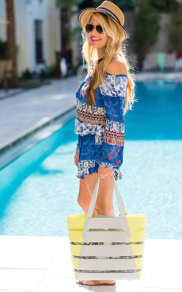 surf gypsy, swim cover up, blue romper, tory burch flip flops, vince camuto bag, thora, gucci aviators, eric javits, straw fedora