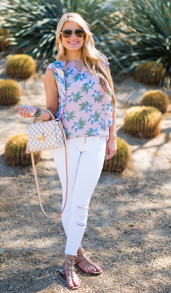 cupcakes and cashmere top, palm springs print, valentino sandals, louis vuitton bag, rockstud, turquoise sandals, gucci aviators, white denim, j brand cropped denim, turquoise bracelet