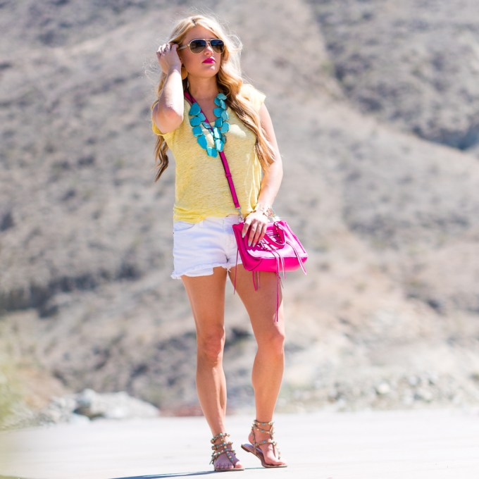 joie yellow tee, pink handbag, rebecca minkoff bag, turquoise necklace, rockstud sandals, gucci sunglasses, white aviators