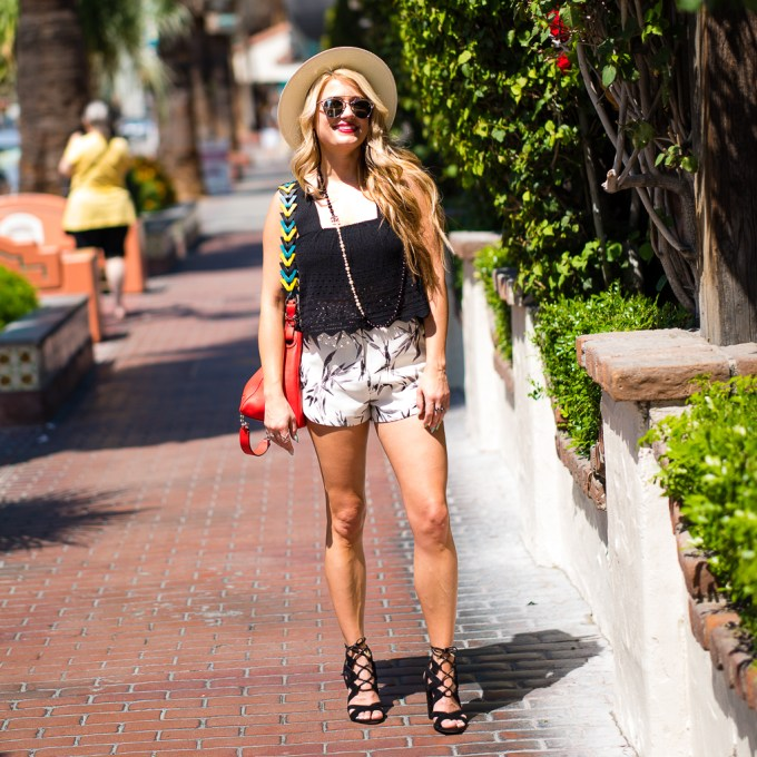 ALC cropped top, topshop shorts, loewe handbag, sam edelman shoes, chanel necklace, straw fedora, rag and bone