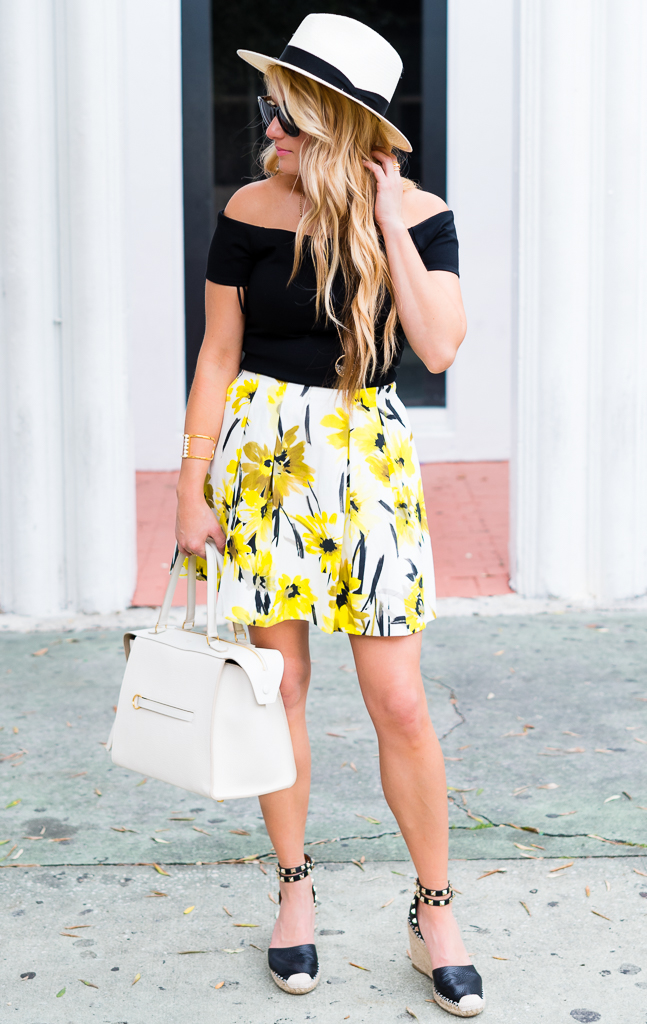 floral skirt, black cropped top, celine ring, straw fedora, mcm sunglasses, valentino espadrilles, rockstud, alice and olivia skirt