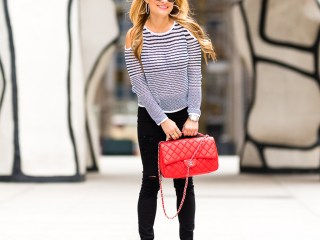 knit sweater, black and white, cold shoulder top, top knit, red chanel bag, black ripped denim, valetino pumps, rockstud pumps, mcm sunglasses