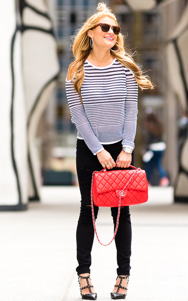 Black and White Top with Red Chanel POST-2