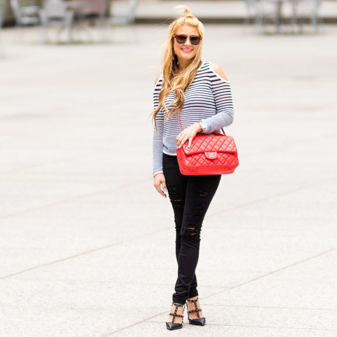 Black and White Top with Red Chanel POST-9