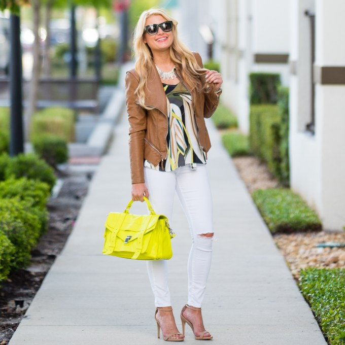 yellow purse, proenza scholar ps1, white ripped jeans, ripped skinnies, printed tank, faux leather, celine sunglasses, steve madden heels, stecy