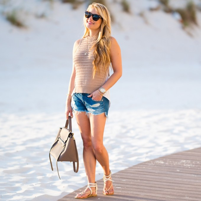 beach look, cutoffs, sandals