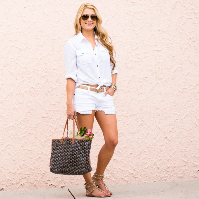 white on white, cutoffs, white button down, valentino sandals