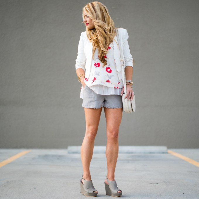 gray shorts, white blazer, wedges, tory burch bag