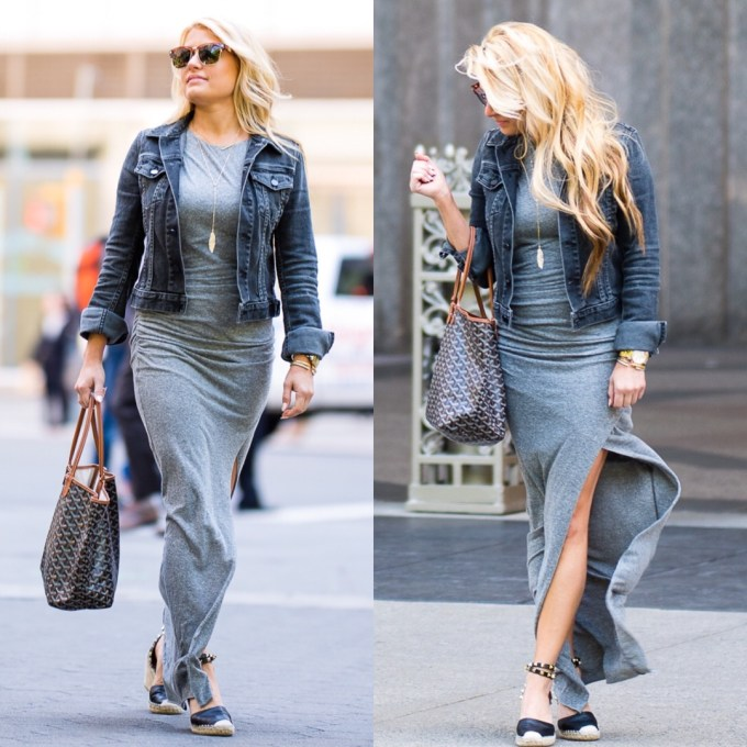 new york city, casual, t shirt dress, jean jacket, valentino wedges