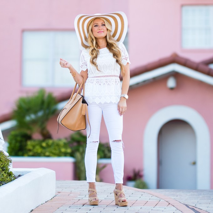 white lace, crochet top, floppy hat, striped straw hat, celine handbag, celine phantom, turquoise earrings, Ippolita earrings, baublebar