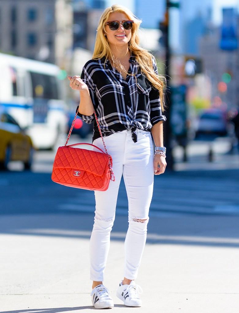 black and white, plaid shirt, rails shirt, white denim, adidas superstar, chanel handbag, mcm sunglasses