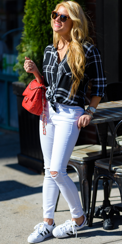rails plaid shirt, black and white, adidas superstar, white ripped denim, chanel handbag, mcm sunglasses, casual sneakers