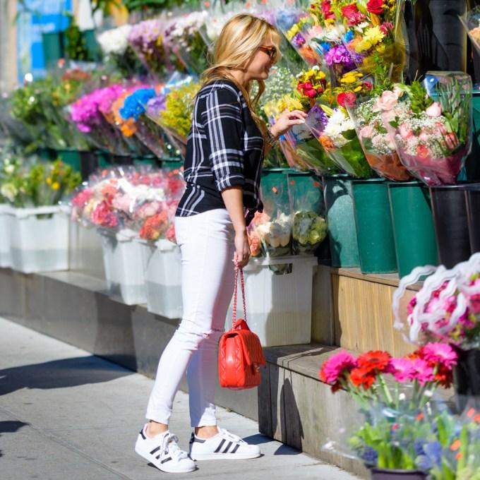 rails plaid shirt, black and white, adidas superstar, white ripped denim, chanel handbag, mcm sunglasses, casual sneakers