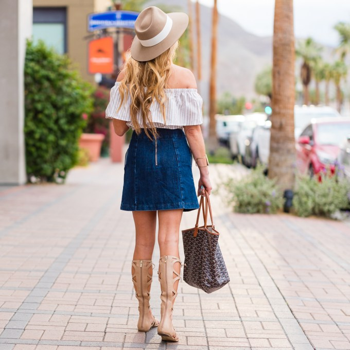 cropped top, denim skirt, topshop, goyard, st. louis, ivanka trump sandals, rag and bone hat, fedora, gladiator sandals, gold cuff