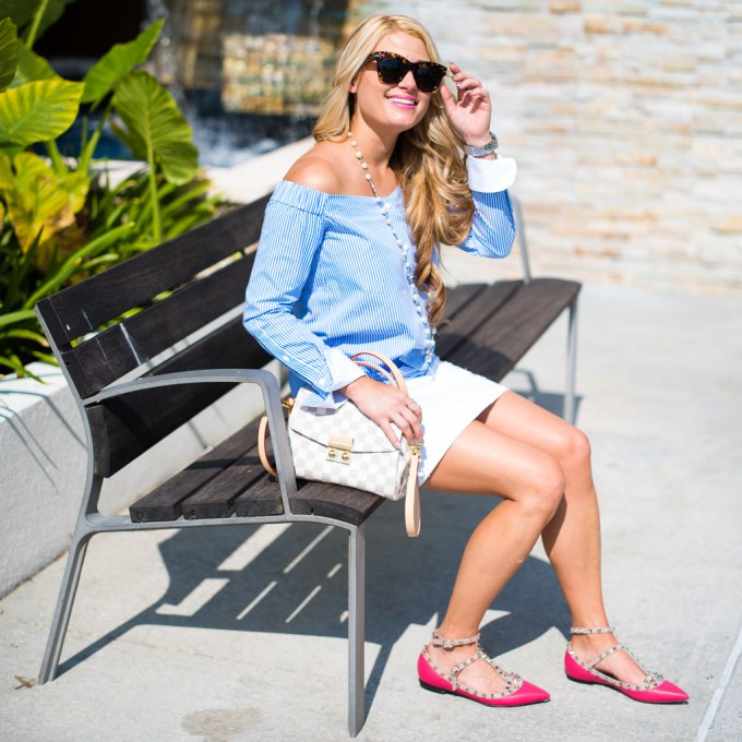 rag and bone striped top, white denim skirt, pink valentino flats, celine sunglasses, louis vuitton handbag, chanel necklace, chanel pearls, pink flats