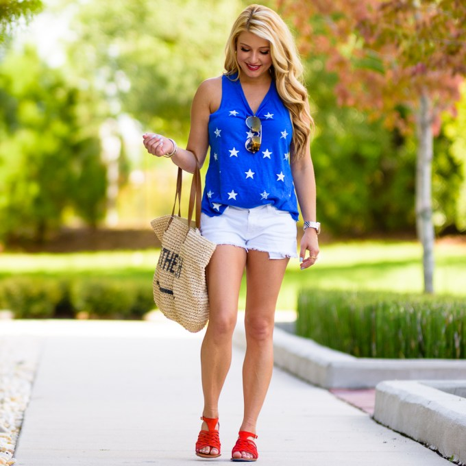 star tank, nordstrom, red sandals, beach tote, aviators, celine, red lips