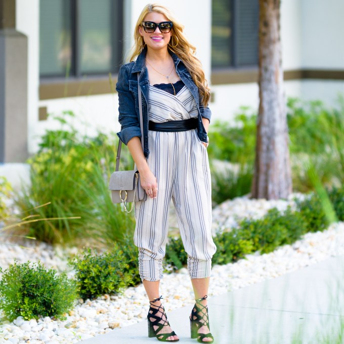 leith romper, chloe bag, waist belt, black denim jacket, lace up heels, celine sunglasses, lace bralette, free people