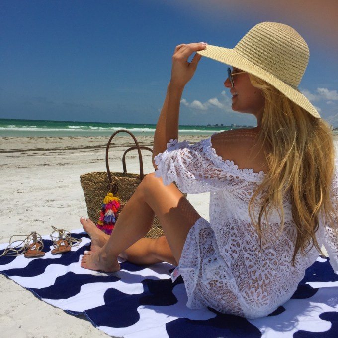 beach, lace coverup, straw hat, beach tote