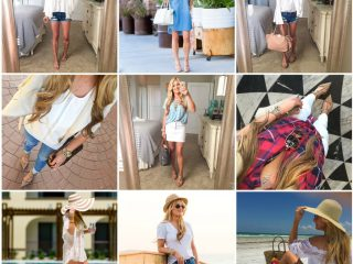 bell sleeve top, floppy hat, white denim skirt, rag and bone hat, celine handbag, cutoff shorts