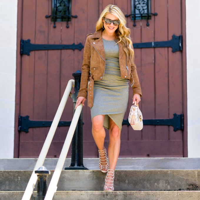 leith body con dress, 2 ways, camo, suede jacket, caged heels