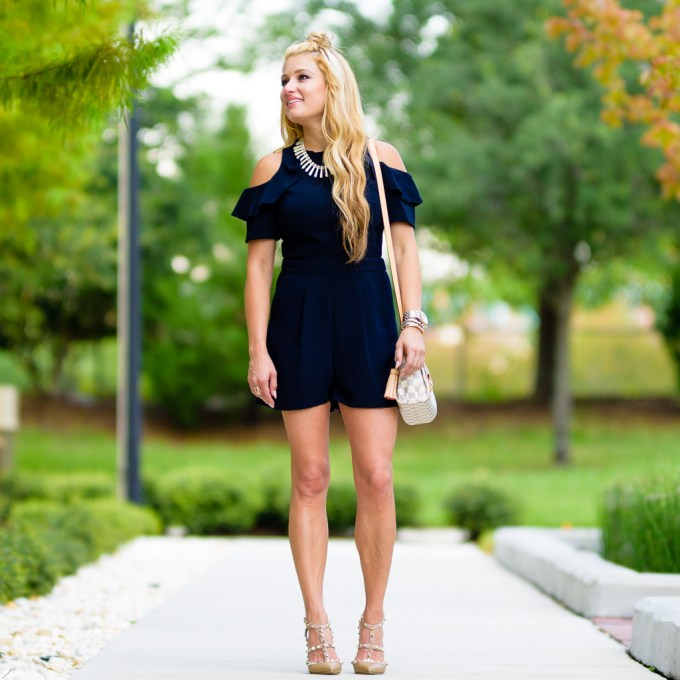 cold shoulder romper, topshop, valentino heels, rockstud, louis vuitton, ruffles, cold shoulde