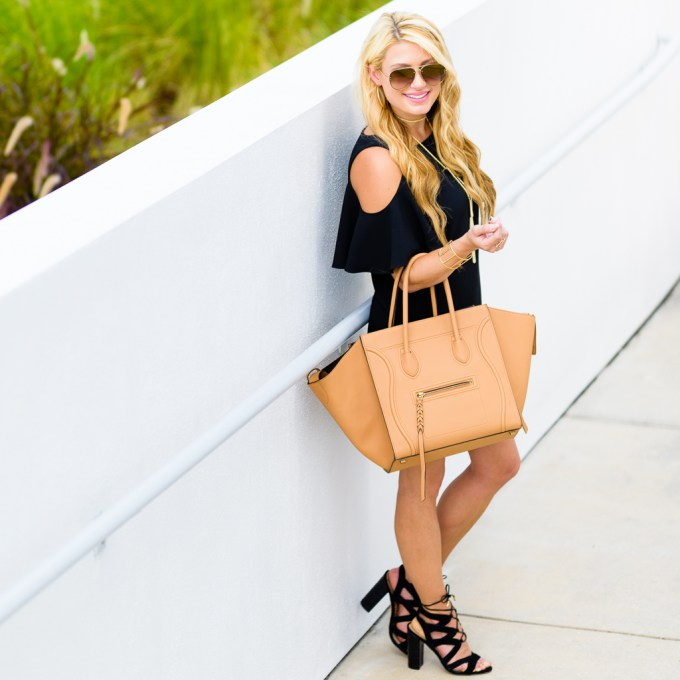cold shoulder ruffle dress, lace up heels, celine phantom, tassel necklace, sam edelman, celine sunglasses