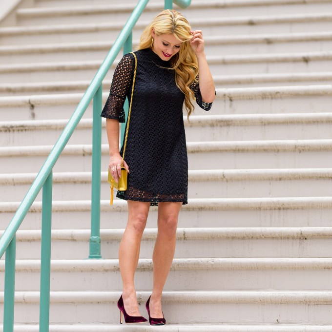 bell sleeves, lace dress, gold bag, velvet shoes, red pumps, gold hoops