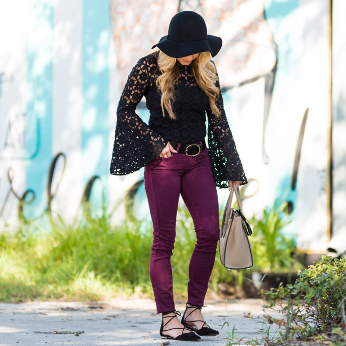 free people top, lace, bell sleeves, burgundy jeans, wine color, fall, celine luggage, celine micro, nude handbag, floppy hat, coffee, lace up flats, steve madden sunshine