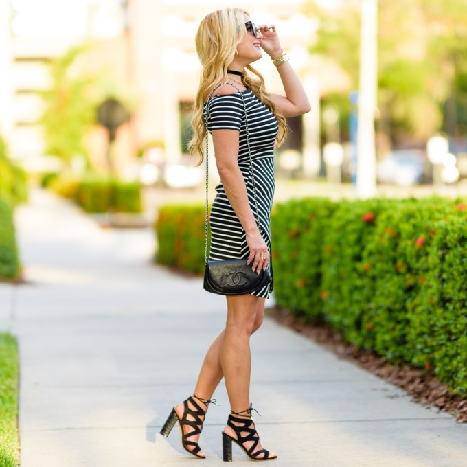 off the shoulder dress, black and white, striped dress, 1 state, sam edelman, yardley heels, chanel, wallet on a chain, celine sunglasses