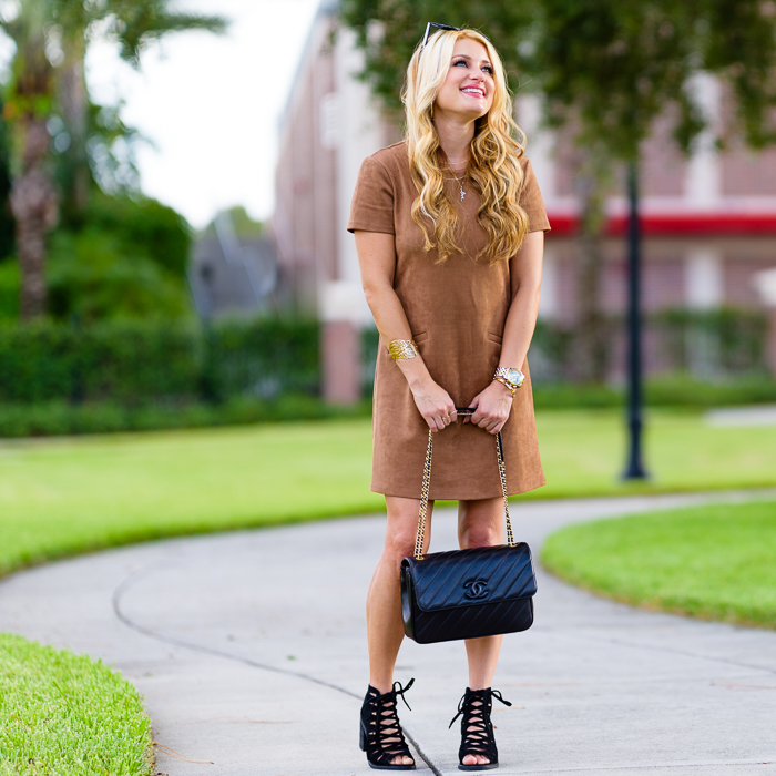 brown suede dress, black booties, chanel handbag, celine sunglasses