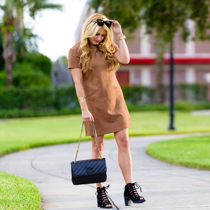 brown suede dress, black booties, chanel handbag, celine sunglasses, faux suede