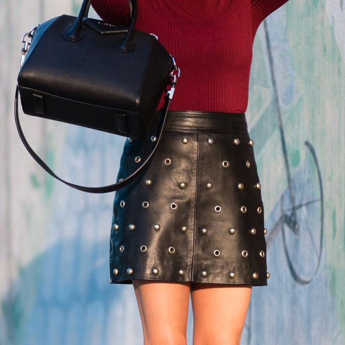 topshop, leather skirt, studs, steve madden, black booties, edit bootie, burgundy , fall colors, celine sunglasses, givenchy antigona