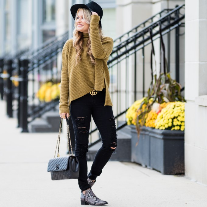 free people sweater, black rips, marc fisher booties, chanel handbag, coco vintage chanel, rag and bone, wool fedora, gucci belt