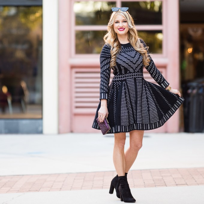 topshop dress, fit and flare, booties, steve madden edit, on sale, celine sunglasses, sole society clutch, sparkle, sale, black friday deals, nordstrom