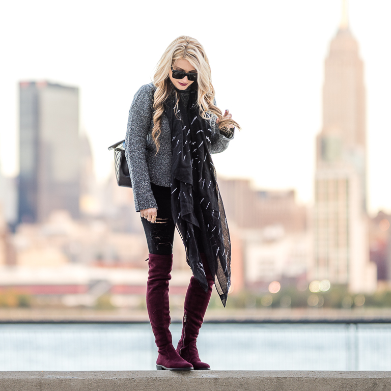 rag and bone scarf, dagger scarf, otk boots, burgundy boots, cozy sweater, chanel handbag, coco vintage, celine sunglasses