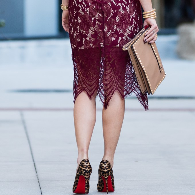 lace dress, valentino clutch, holiday dress, christian louboutin, pigalle, leopard pumps