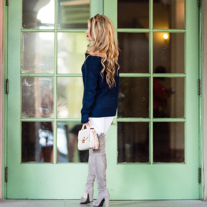 bp, nordstrom, pearl choker, cristabelle, white denim, gray boots, over the knee boots, otk boots, louis vuitton, navy sweater, off the shoulder sweater