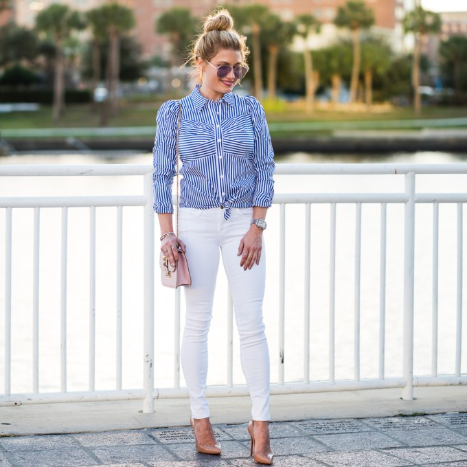 pouf sleeves, pinstripes, veronica beard, frame denim, valentino, christian louboutin, white denim, pink lips, nude pumps, pigalle