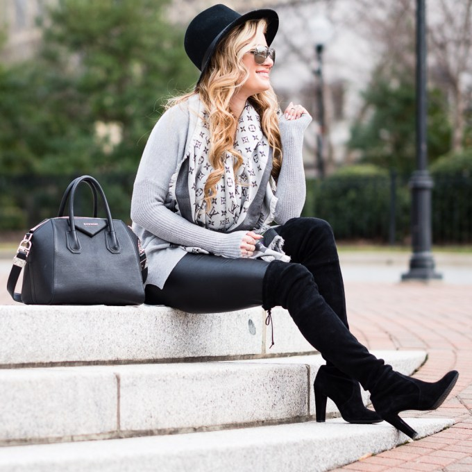 trouve sweater, otk boots, over the knee boots, stuart weitzman boots, givenchy antigona bag, rag and bone hat, lana necklace, faux leather leggings, nordstrom