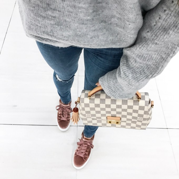 gray sweater, rips, velvet sneakers, steve madden, louis vuitton