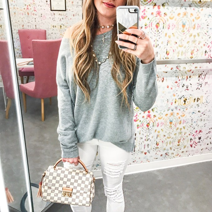 gray sweater, white denim, ripped denim