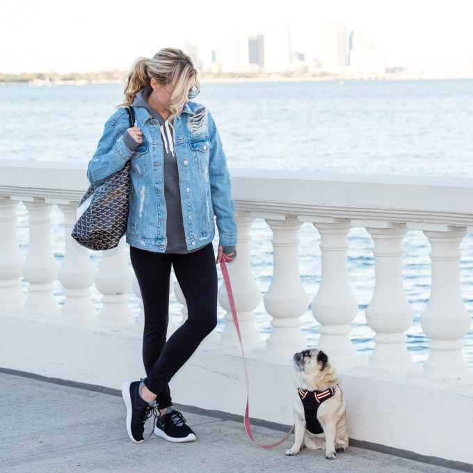 athleisure, nordstrom, topshop, denim jacket, distressed denim, goyard tote, goyard st louis, nike juvenate, zella