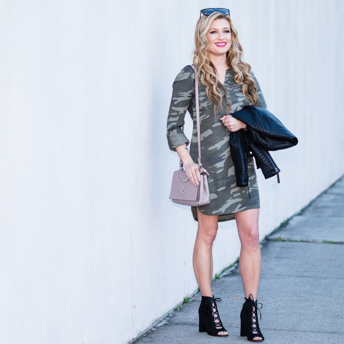 express, camo dress, shirt dress, sam edelman bootie, louis vuitton bag, celine sunglasses, kendra scott jewelry, moto jacket, faux leather