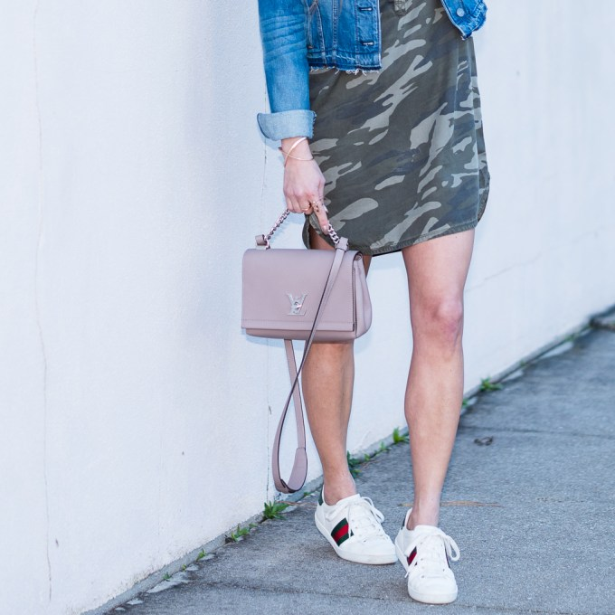 denim jacket, express, camo dress, shirt dress, gucci sneaker, gucci ace, louis vuitton bag, celine sunglasses, kendra scott jewelry,